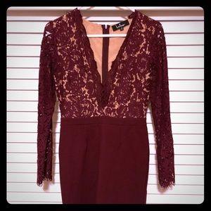 Lulus Burgundy Midi Long Sleeve Dress